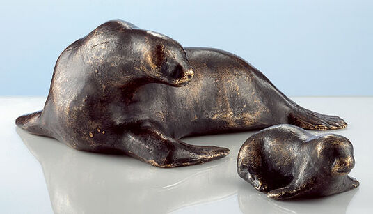 "Mechtild Born: Sculpture ""Baby Seal"", Bronze"
