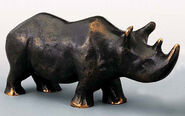 "Skulptur ""Nashorn-Mutter"", Bronze"