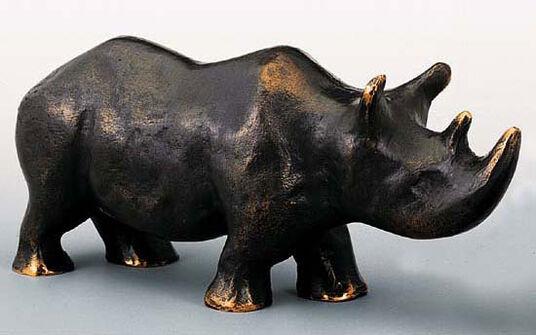 "Mechtild Born: Skulptur ""Nashorn-Mutter"", Bronze"