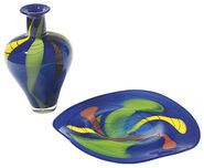 "Set of Glass vase and - dish""Azzurro"" ."