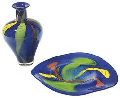 "Set of Glass vase and - dish""Azzurro"" ."