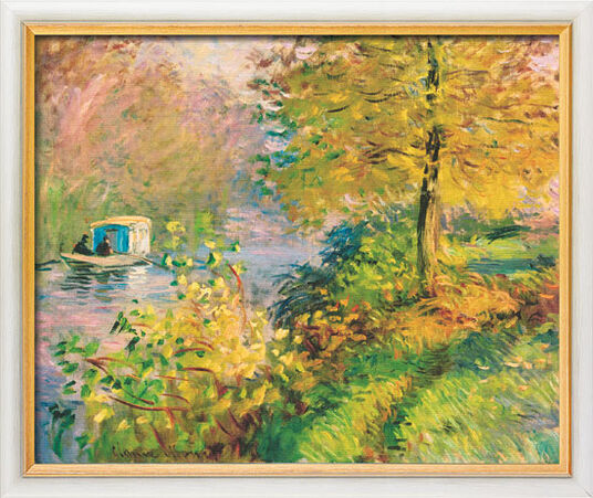 "Claude Monet: Picture ""The Atelier Boat"" (1876) in gallery framing"