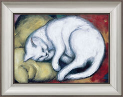 "Painting ""The White Cat"" (The Cat on the Yellow Pillow) (1912), Framed"