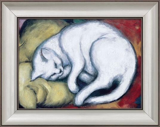 """Franz Marc: Bild """"Die weiße Katze"""" (Kater auf gelbem Kissen) (1912), gerahmt"""