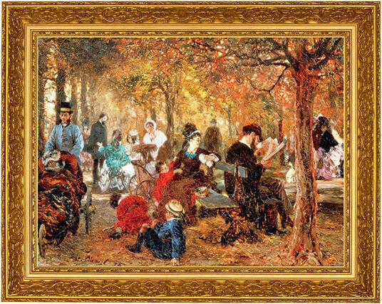 """Adolph von Menzel: Bild """"Im Jardin de Luxembourg"""" (1876), gerahmt"""
