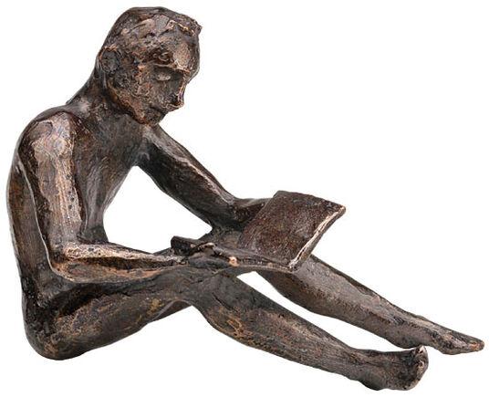 """Birgit Stauch: Skulptur """"Buchleser"""", Metallguss"""