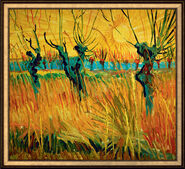 "Painting ""Willows at Sunset"" (1888) in studio framing"