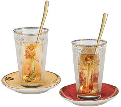 "Glasses set ""Spring"" and ""Autumn"" with gold decoration"