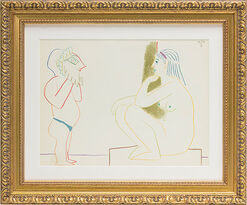 """A Man and a Model"" 1954 in baroque frame."