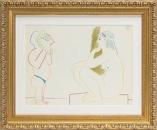 """Pablo Picasso: Bild """"Mann und Modell II"""" (1954), gerahmt"""