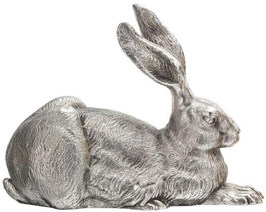 """Ottmar Hörl: Sculpture """"Dürer-Hare"""" (2012), silver-plated zinc version"""