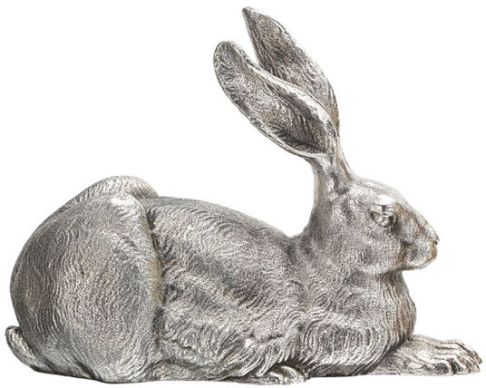 """Ottmar Hörl: Sculpture """"Dürer Hare"""", version in silver-plated bronze"""
