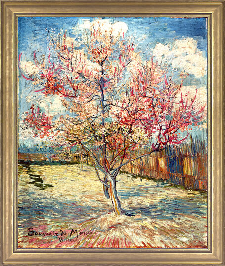 "Vincent van Gogh: Painting ""Peachtree in Bloom"" (1888) in a frame"
