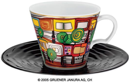 "Friedensreich Hundertwasser: Universal Mug after 717 ""A House for Trees and for Men"""