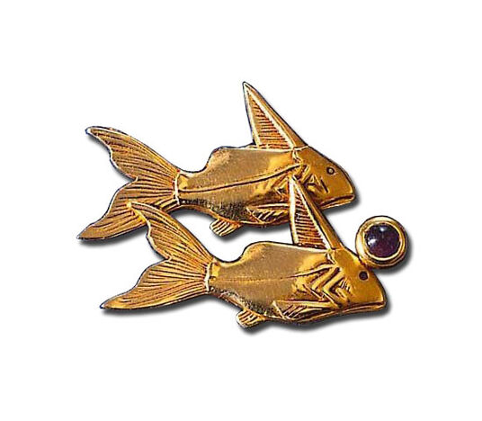 "Egyptian zodiac sign pin brooch ""Pisces"" with a lucky stone (20.2.-20.3.)"