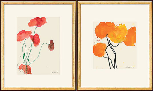 "Oskar Koller: 2 Bilder ""Oranger Mohn"" (1998) und ""Roter Mohn mit grünen Stängeln"" (1999) im Set"