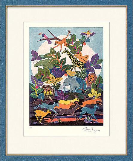 """Francis Lubas Imanjama: Bild """"Afrika"""" (1996), gerahmt"""