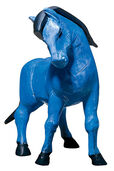 "Sculpture ""The Blue Horse"", Version in Art Casting, Hand Coloured"