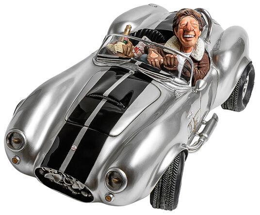 """Guillermo Forchino: Karikatur """"Shelby Cobra silber"""", Kunstguss handbemalt"""