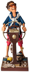 "Caricature ""Weekend Captain"", Artificial Casting, Painted by hand"