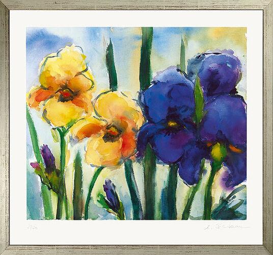 "Christine Kremkau: Bild ""Iris gelb und blau"", gerahmt"