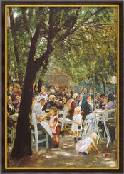 "Painting ""Munich Beer Garden"" (1884), Framed"