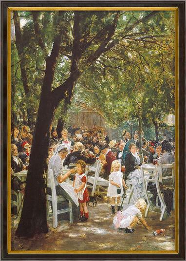 """Max Liebermann: Bild """"Münchner Biergarten"""" (1884), gerahmt"""