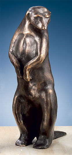 """Mechtild Born: Sculpture """"Meerkat II"""" (Height 24 cm), Bronze"""