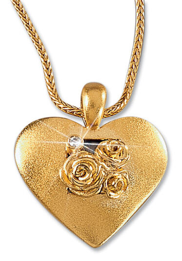 "Christiane Wendt: Necklace ""Heart of Roses"", gilded sterling silver"