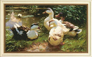 "Painting ""Gees at a Water Lily Pond"""