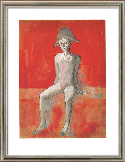 """Pablo Picasso: Bild """"Sitzender Harlekin"""" (1905), gerahmt"""