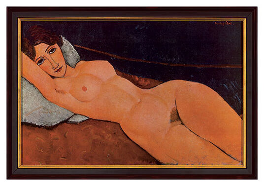 "Amedeo Modigliani: Painting ""Female Nude Reclining on a White Pillow"", 1917"
