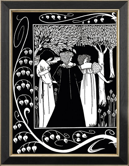 "Aubrey Beardsley: Bild ""Lanzelot and Elaine"" (1893), gerahmt"