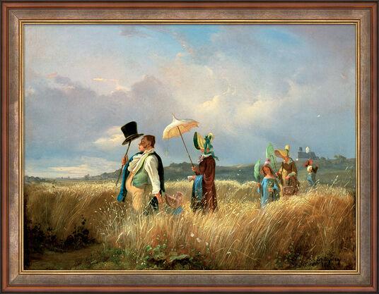 """Carl Spitzweg: Bild """"Der Sonntagsspaziergang"""" (1841), gerahmt"""