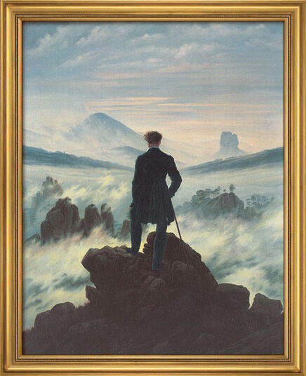"Caspar David Friedrich: Painting ""Wanderer above the Sea of Mist"" (1818) in a frame"