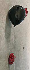 """Wandobjekt """"Ballon schwarz-matt"""", Keramik"""