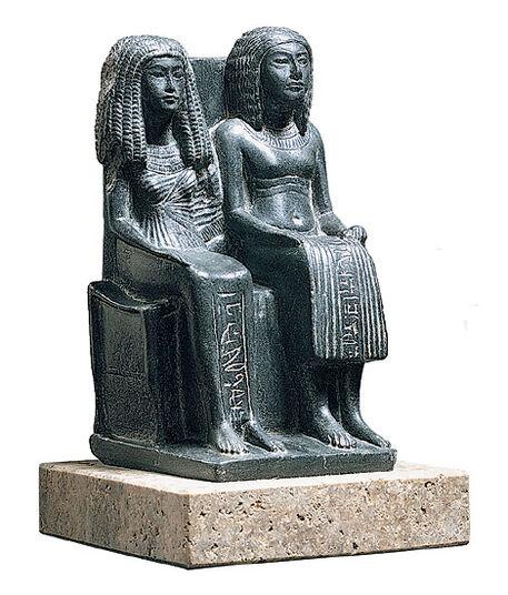 Sculpture 'Egyptian Couple', art casting