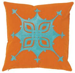 """Kissenhülle """"Tuareg"""", Version in Orange-Türkis"""