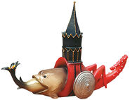 """Skulptur """"Fisch im Turm"""", Kunstguss handbemalt"""