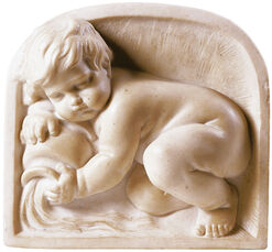 "Wandrelief ""Putto als Flussgott"""