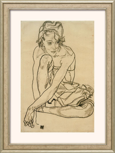 "Egon Schiele: Bild ""Kauernde"" (1918), gerahmt"