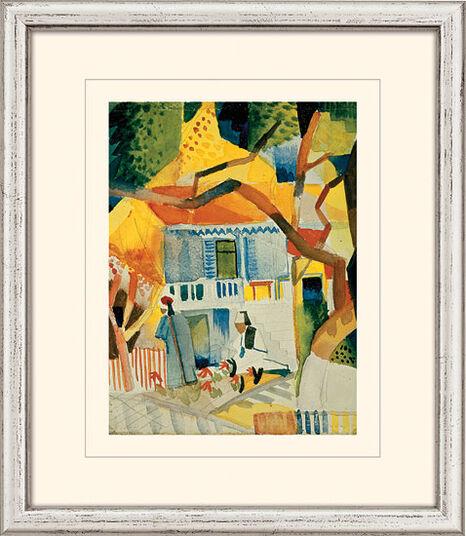 "August Macke: Bild ""Innenhof des Landhauses in St. Germain"" (1914), gerahmt"