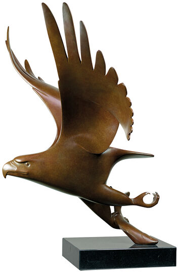 """Evert den Hartog: Skulptur """"Raubvogel mit Fisch Nr. 1"""", Bronze braun"""