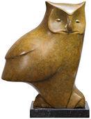 "Skulptur ""Sitzende Eule Nr. 4"", Bronze grün/braun"