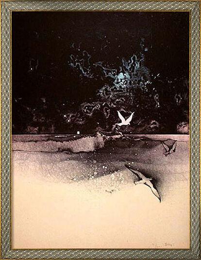 """Bruno Bruni: Bild """"Ein Seestück"""" (1975), gerahmt"""