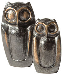 "Skulpturen-Set ""Eulenpaar"", Bronze"