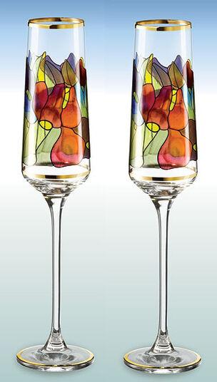 """2 Champagnerkelche """"Lilie"""" im Set - nach Louis C. Tiffany"""