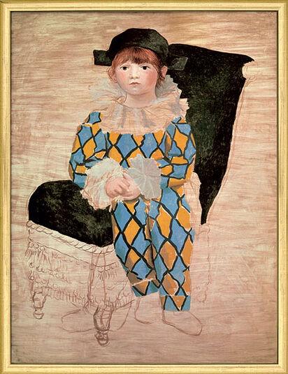 "Pablo Picasso: Bild ""Paul als Harlekin"" (1924), gerahmt"