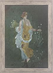 """Fresko, römische Malerei aus Pompeji """"Blumenpflückendes Mädchen"""", gerahmt"""