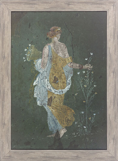 "Fresco, Roman painting from Pompeii ""Girl picking flowers"""